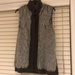 Grey faux fur sweater vest size large